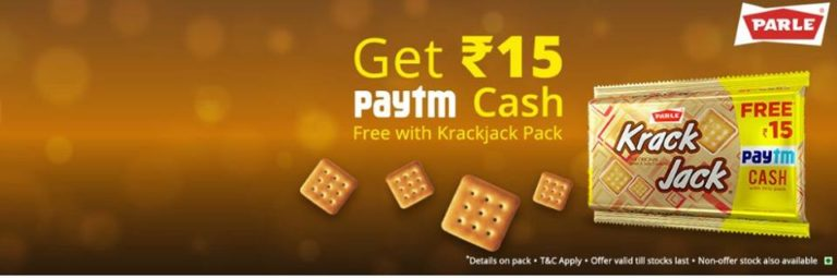 Get Free Rs. 15 Paytm Cash with pack of Krackjack worth Rs. 25