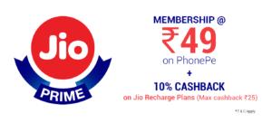 Jio Prime Membership deal offer phonepe