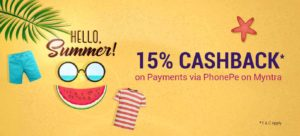 Myntra 15% cashback on payment via phonepe